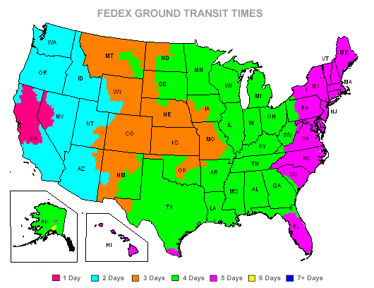 FedEx Ground Shipping Map